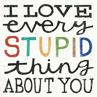 I Love Every Stupid Thing About You by Michael Mullan - various sizes