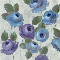 Blue Damask I on Ivory Framed Print