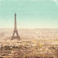 Eiffel Landscape Letter Blue II by Sue Schlabach - various sizes