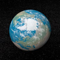 3D rendering of planet Earth centered on the North Pole Fine Art Print
