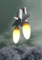 Space shuttle taking off amongst grey smoke and clouds Fine Art Print