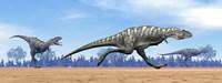 Three Aucasaurus dinosaurs running in the desert by Elena Duvernay - various sizes