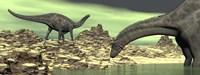 Two Dicraeosaurus dinosaurs in a desert landscape Fine Art Print
