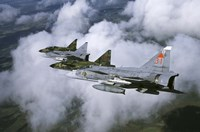 Four Saab 37 Viggen fighters of the Swedish Air Force Fine Art Print