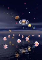 Planets of the solar system surrounded by lotus flowers and butterflies by Elena Duvernay - various sizes