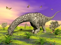 Argentinosaurus eating plants while surrounded by butterflies and flowers by Elena Duvernay - various sizes