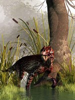 A Lycaenops stalking through a shallow prehistoric wetland Fine Art Print