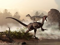 A pair of velociraptors patrol the shore of an ancient lake Fine Art Print