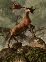 An Irish Elk stands proudly in a dense forest Fine Art Print