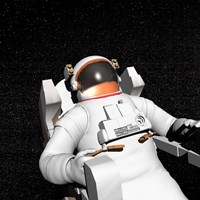 Astronaut floating alone in the dark space surrounded with stars Fine Art Print
