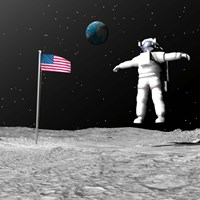 First astronaut on the moon floating next to American flag by Elena Duvernay - various sizes, FulcrumGallery.com brand