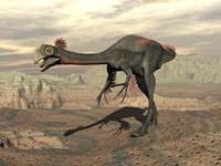 Gigantoraptor dinosaur walking  on rocky terrain by Elena Duvernay - various sizes