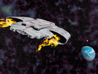 Spaceship with afterburners engaged as it approaches planet Earth by Elena Duvernay - various sizes