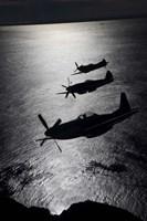 Three P-51 Cavalier Mustang warbirds in flight by Daniel Karlsson - various sizes