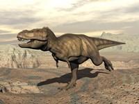 Tyrannosaurus Rex dinosaur running across rocky terrain by Elena Duvernay - various sizes