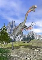 Gigantoraptor dinosaur running in the mountains by Elena Duvernay - various sizes