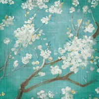 White Cherry Blossoms I on Blue Aged No Bird by Danhui Nai - various sizes