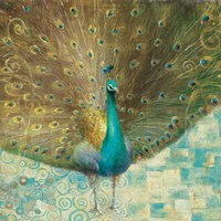 Teal Peacock on Gold Fine Art Print