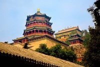Tower in The Pavilion of Buddhist Fragrance, Beijing, China Fine Art Print