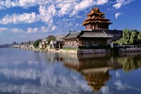 China, Beijing, Tower and moat guard, Forbidden City Fine Art Print