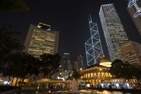 City Skyline, Statue Square, Hong Kong, China Fine Art Print