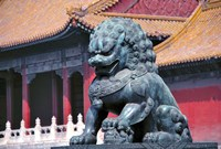 China, Beijing, Lion statue guards Forbidden City Fine Art Print