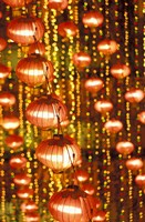 Beijing Hotel Lobby and Red Chinese Lanterns, China Fine Art Print
