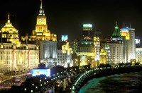 View of the Bund Area Illuminated at Night, Shanghai, China by Walter Bibikow - various sizes, FulcrumGallery.com brand