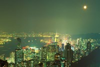 City Lights at Twilight From Victoria Peak, Central District, Hong Kong, China by Paul Souders - various sizes