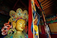 Dalai Lama Picture Beside Maitreya Buddha, Thiksey Monastery, Thiksey, Ladakh, India Fine Art Print