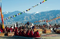 Tibetan Ceremony in Shanti Stupa, Leh, Ladakh, India Fine Art Print