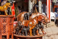 Souvenir Tiger Sculptures, New Delhi, India Fine Art Print