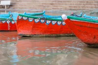 Wooden Boats in Ganges river, Varanasi, India Fine Art Print