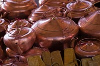 Copper kettles, Lijiang Market, Lijiang, Yunnan Province, China Fine Art Print