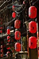 Old Town red lanterns outside restaurants, Xinhua Jie Street, Lijiang, Yunnan Province, China Fine Art Print