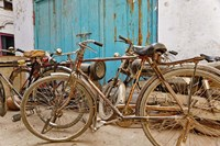 Group of bicycles in alley, Delhi, India Fine Art Print