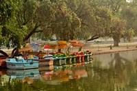 Boat reflection, Delhi, India by Adam Jones - various sizes