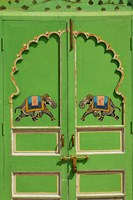 Elephants painted on green door, City Palace, Udaipur, India Fine Art Print