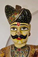 Statue Head, Raj Palace Hotel, Jaipur, India Fine Art Print