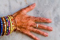 Henna Design on Woman's Hands, Delhi, India Fine Art Print