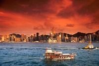 Hong Kong Harbor at Sunset, Hong Kong, China Fine Art Print