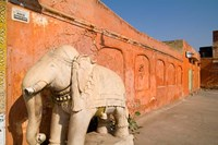 Old Temple with Stone Elephant, Downtown Center of the Pink City, Jaipur, Rajasthan, India by Bill Bachmann - various sizes
