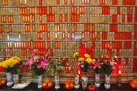 Flowers at Man Mo Buddhist Temple, Hong Kong Fine Art Print