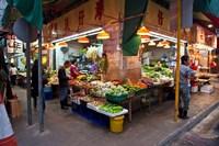 Street Market Vegetables, Hong Kong, China Fine Art Print