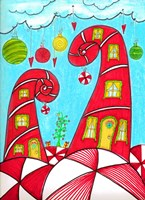 Candy Cane Houses II Fine Art Print