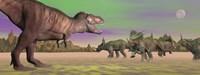 Tyrannosaurus attacking Styracosaurus dinosaurs by Elena Duvernay - various sizes
