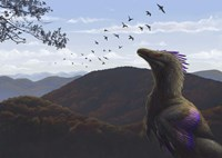 Velociraptor in an autumn landscape by Emily Willoughby - various sizes