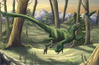 A bright green Velociraptor runs through a prehistoric forest Fine Art Print