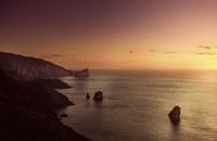 Aerial view of sea and mountains at sunset, Nebida, Sardinia, Italy Fine Art Print