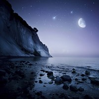 Rising moon over ocean and mountains against starry sky Fine Art Print